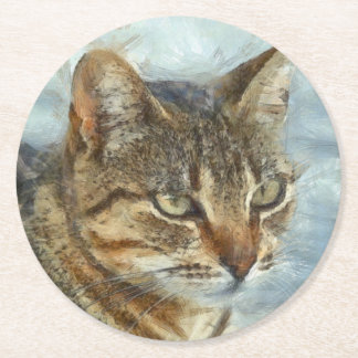 Stunning Tabby Cat Close Up Portrait Round Paper Coaster