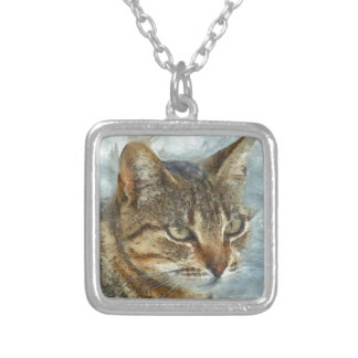 Stunning Tabby Cat Close Up Portrait Silver Plated Necklace