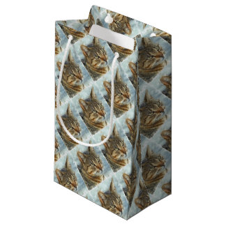Stunning Tabby Cat Close Up Portrait Small Gift Bag