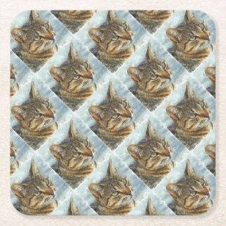 Stunning Tabby Cat Close Up Portrait Square Paper Coaster
