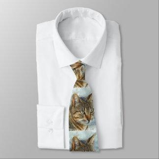 Stunning Tabby Cat Close Up Portrait Tie