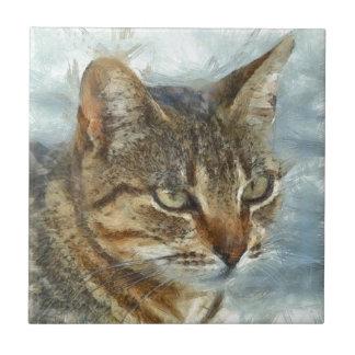 Stunning Tabby Cat Close Up Portrait Tile