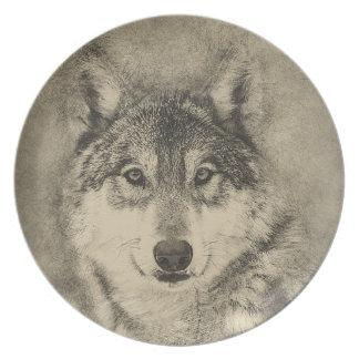 Stunning Timber Wolf Melamine Dinner Plate