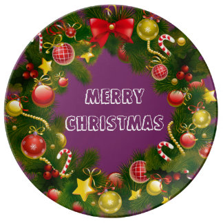 Stunning & Traditional Merry Christmas Wreath Porcelain Plate