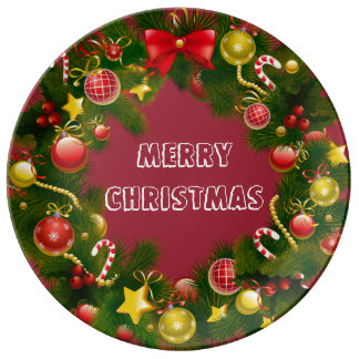 Stunning & Traditional Merry Christmas Wreath Porcelain Plates