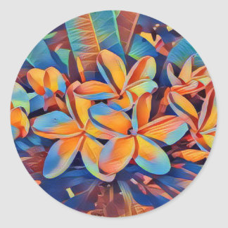 Stunning tropical frangipanis classic round sticker
