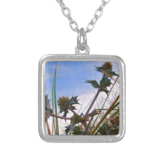 Stunning Unique Eye Catching Thistle Silver Plated Necklace