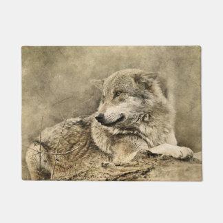 Stunning vintage wolf lying down doormat