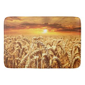 Stunning wheat field sunset bath mat