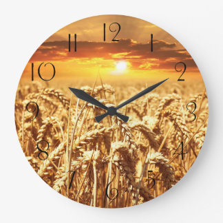 Stunning wheat field sunset large clock
