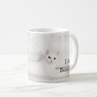 "Stunning White Cat Photo ""I Am Beautiful"" Coffee Mug"