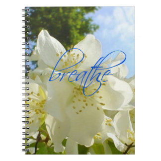 Stunning White Flower Blue Sky Breathe Typography Spiral Notebook