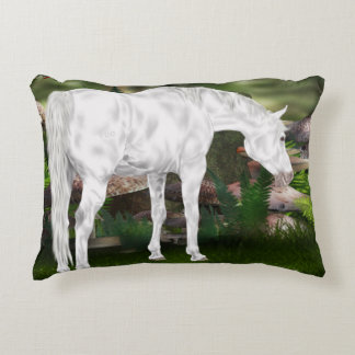 Stunning White Horse Fantasy Scene Accent Pillow