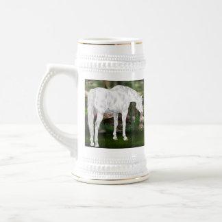 Stunning White Horse Fantasy Scene Beer Stein