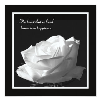 """Stunning White Rose Vow Renewal 5.25"""" Square Invitation Card"""