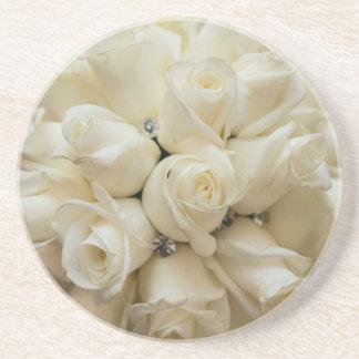 Stunning White Rose Wedding Bouquet Beverage Coasters