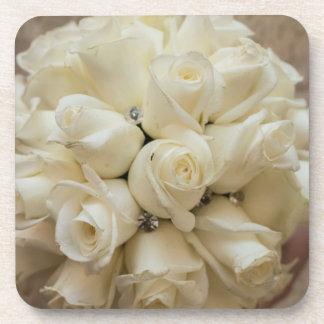 Stunning White Rose Wedding Bouquet Coasters