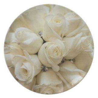 Stunning White Rose Wedding Bouquet Dinner Plates