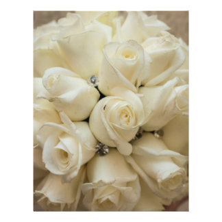 Stunning White Rose Wedding Bouquet Full Color Flyer