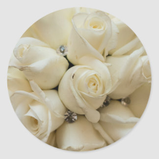 Stunning White Rose Wedding Bouquet Round Sticker