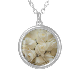 Stunning White Rose Wedding Bouquet Silver Plated Necklace