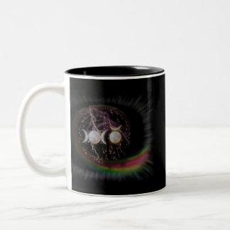 Stunning Wiccan Triple Goddess Cosmic Two-Tone Coffee Mug