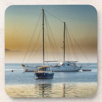 Stunning yacht and boat at marina coaster