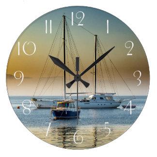 Stunning yacht and boat at marina large clock