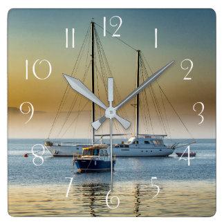 Stunning yacht and boat at marina square wall clock