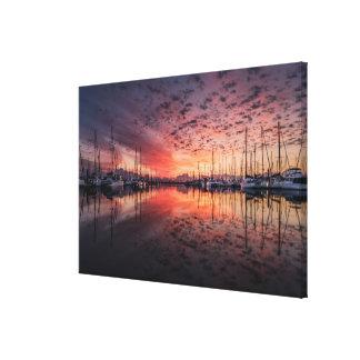 Stunning yachts at marina at sunrise canvas print