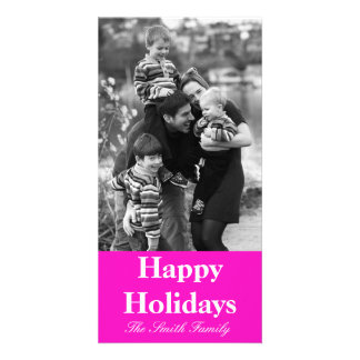 Stunningly Vivacious Pink Color Customizable Photo Greeting Card