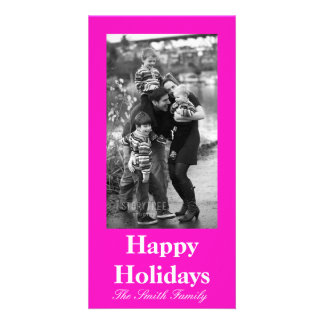 Stunningly Vivacious Pink Color Photo Card Template