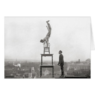 Stuntman Performs Balancing Act, 1917 Card