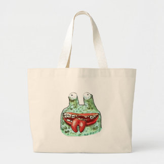 stupid alien cartoon style funny illustration large tote bag