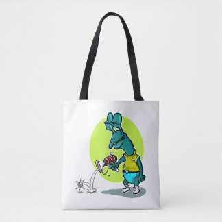 stupid alien cartoon style funny illustration tote bag