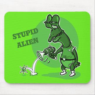 stupid alien shoot single electron cartoon mouse pad