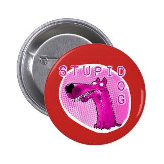stupid dog funny cartoon 2 inch round button