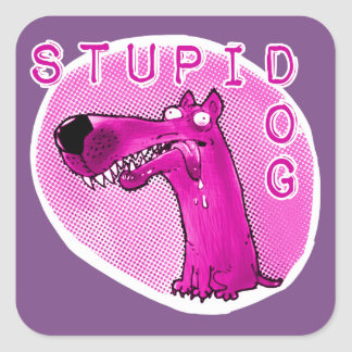 stupid dog funny cartoon square sticker
