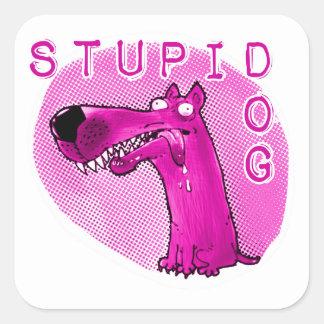 stupid dog funny cartoon square sticker