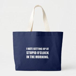 Stupid O'Clock Morning Large Tote Bag