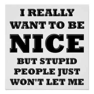 Stupid People Won't Let Me Funny Poster