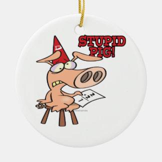 stupid pig dunce hog cartoon ceramic ornament