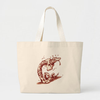 stupid snake trying to pass through into the skull large tote bag