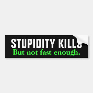 STUPIDITY KILLS But not fast enough. Bumper Sticker