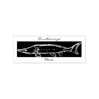 sturgeon swimming rubber stamp