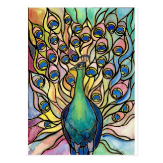 Style ARTpostcard en verre souillé de paon de Cartes Postales