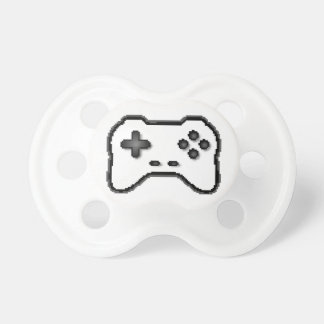 Style blanc du jeu vidéo 8bit de noir de contrôleu tétine pour bébé