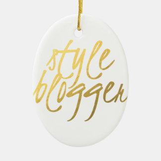 Style Blogger - Gold Script Ceramic Ornament