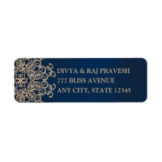 Style de bleu marine et d'Indien d'or Étiquette D'adresse Retour