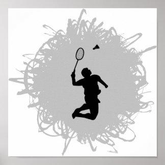 Style de griffonnage de badminton poster